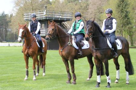 Pia Münker, Carolin Thenhausen und Pauline Knorr auf ihren motivierten Pferden